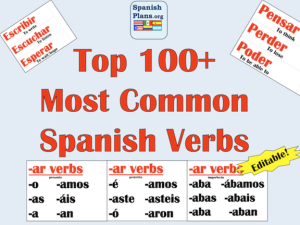 Spanish Verb Word Wall verbos
