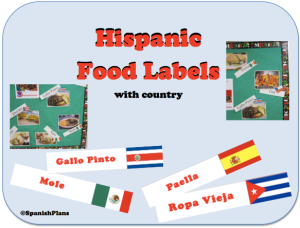 Create an authentic Food Bulletin board with pictures and labels