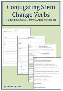 Packet for Stem Changing Verbs