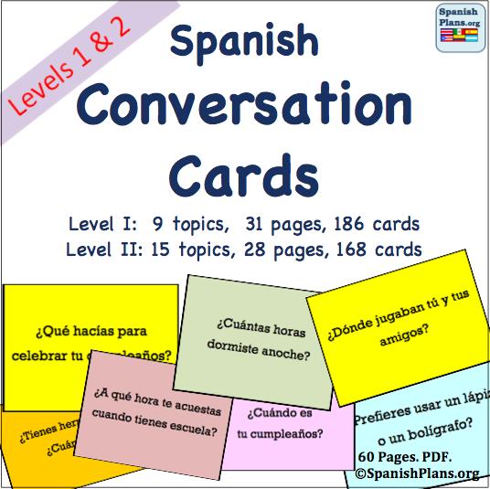 Spanish Conversation Cards   SpanishPlans.org