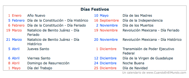 Calendar of Mexican Holidays