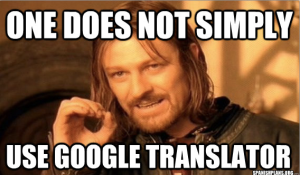 one does not simply use google translate