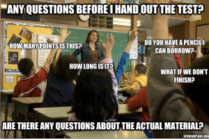 questions before a test