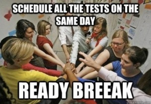 teachers schedule tests on same day