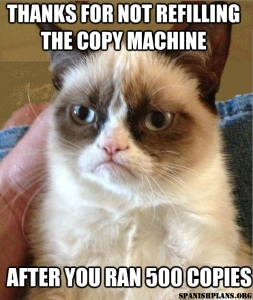 Thanks for refilling copy machine