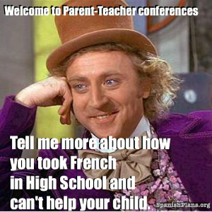 Spanish Teacher parent conferences meme