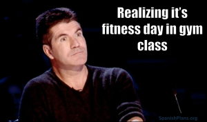 Realizing that it is fitness day in gym