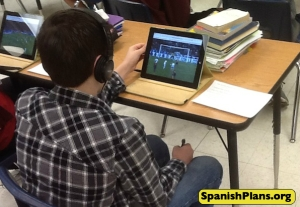 Using iPads to listen to sports highlights in Spanish