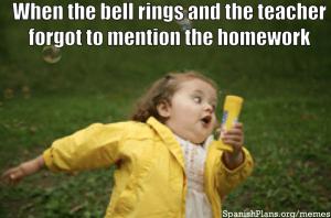 Teacher forgets to give homework meme