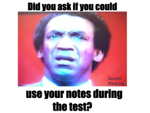 Using notes during test