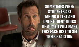 making faces at students