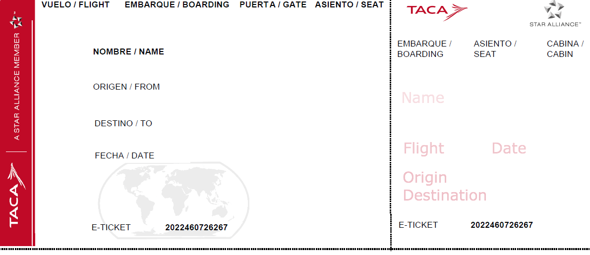 Airline Ticket Template Editable  Airline Ticket Template Word
