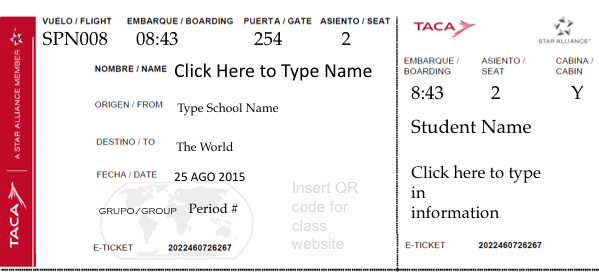 Student Boarding Pass Template