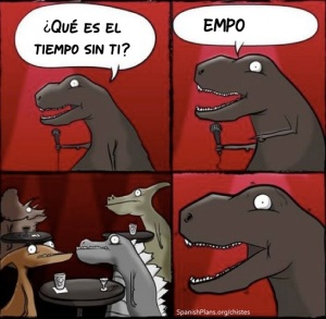 Dinosaurs doing standup in Spanish