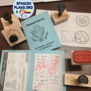 Passport Stamps and Passport Booklet for Spanish Class