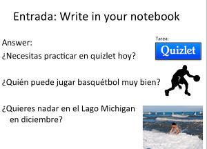 Entrada para la clase de español