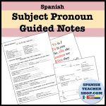 Subject Pronoun Guided Notes