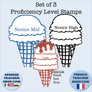 Stamp your students work with these ice cream stamps that show the ACTFL proficiency level