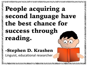 People acquiring a second language have the best chance for success through reading