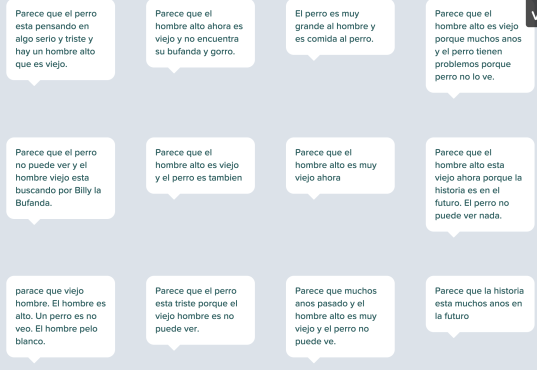 Student responses on PearDeck predicting what they see in the image
