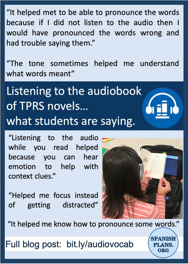Quotes from students about listening to the Spanish audiobook of TPRS novels