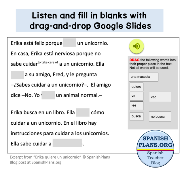 Spanish Drag and Drop Listening Activity on Google Slides
