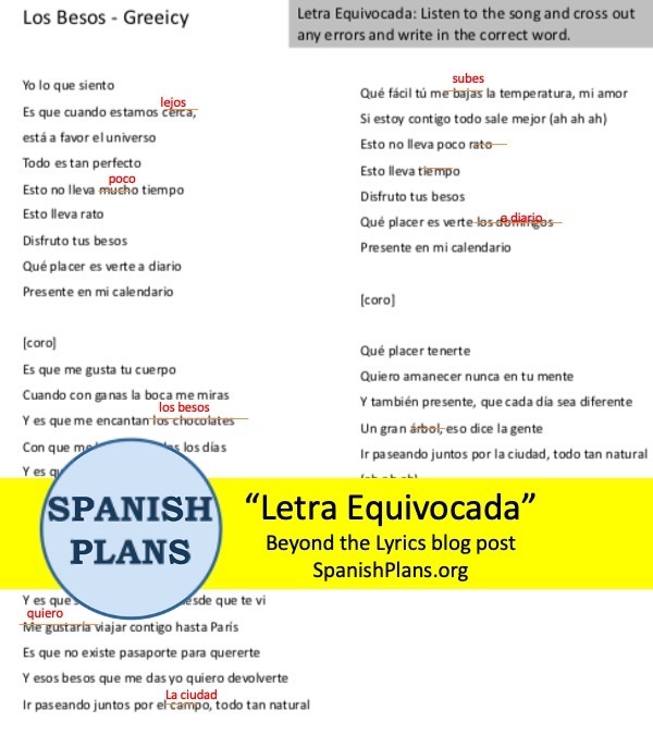 Letra Equivocada song activity for Spanish class by SpanishPlans.org