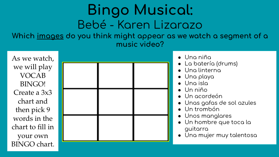 Musical Bingo for MMM