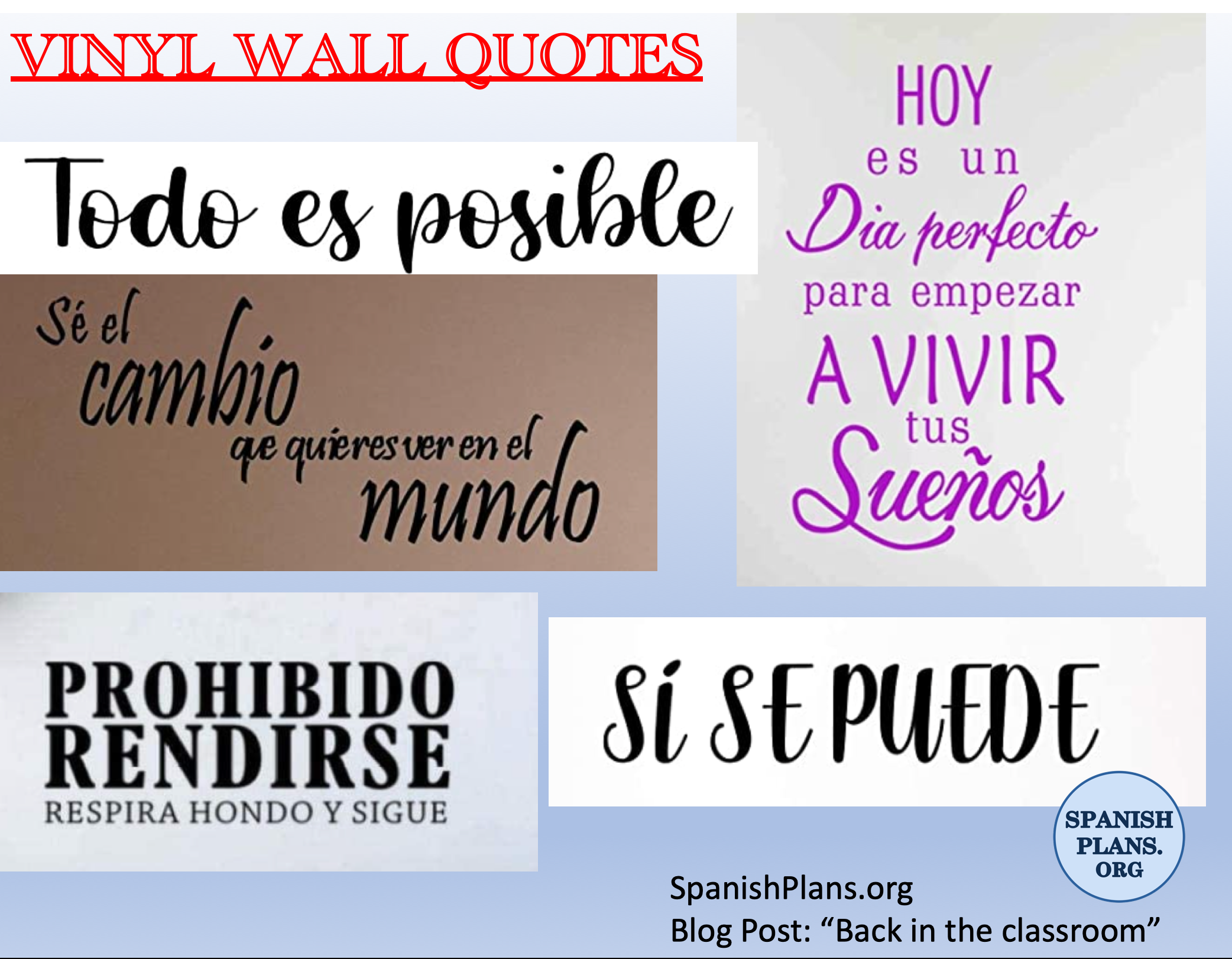Vinyl Wall Quotes in Spanish
